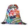 Black Drawstring Bag with Full Imprint Color - Bags, Drawstring, Sports Bag, Full Color, Sublimation,