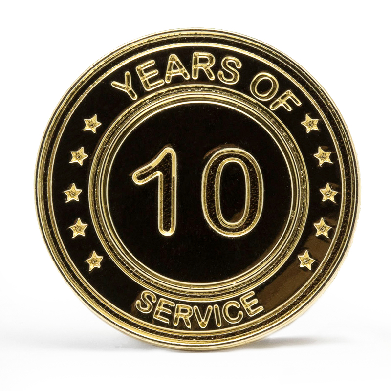 10 Years Of Service Stock Lapel Pins