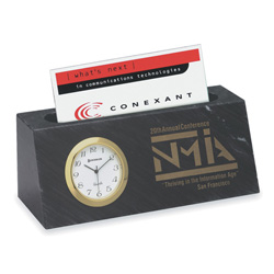 Black Marble Card Holder And Clock