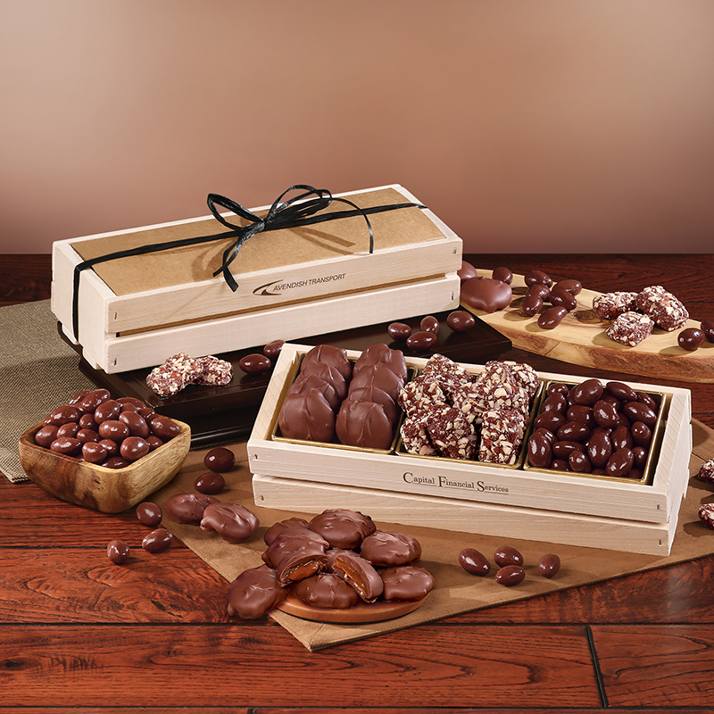 Chocolate Favorites In Printed Wooden Crates