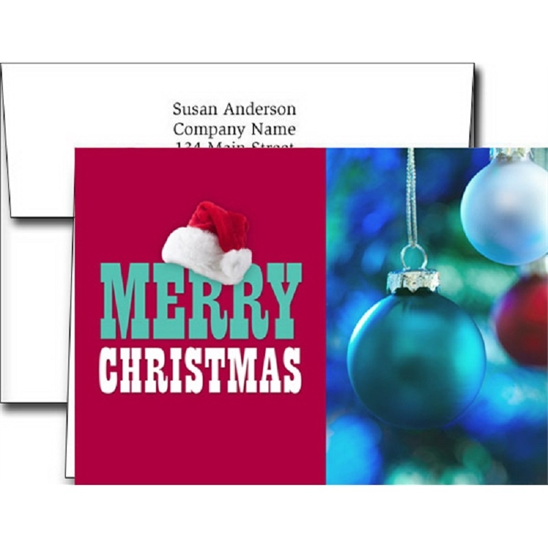 Christmas Hat Holiday Greeting Cards With Imprinted Envelopes