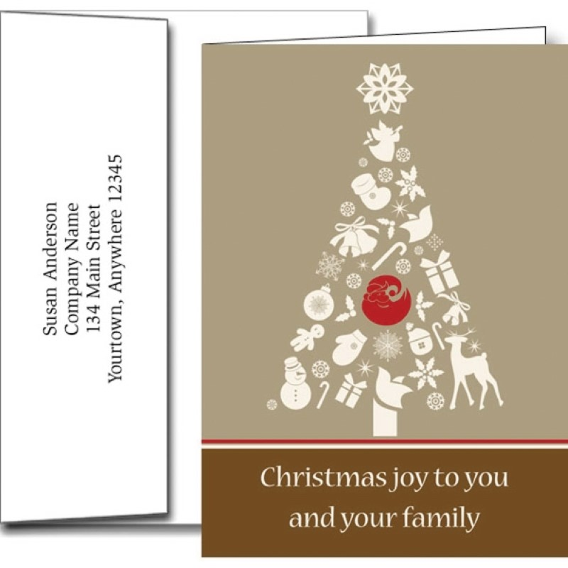 Christmas Tree Holiday Greeting Cards With Imprinted Envelopes