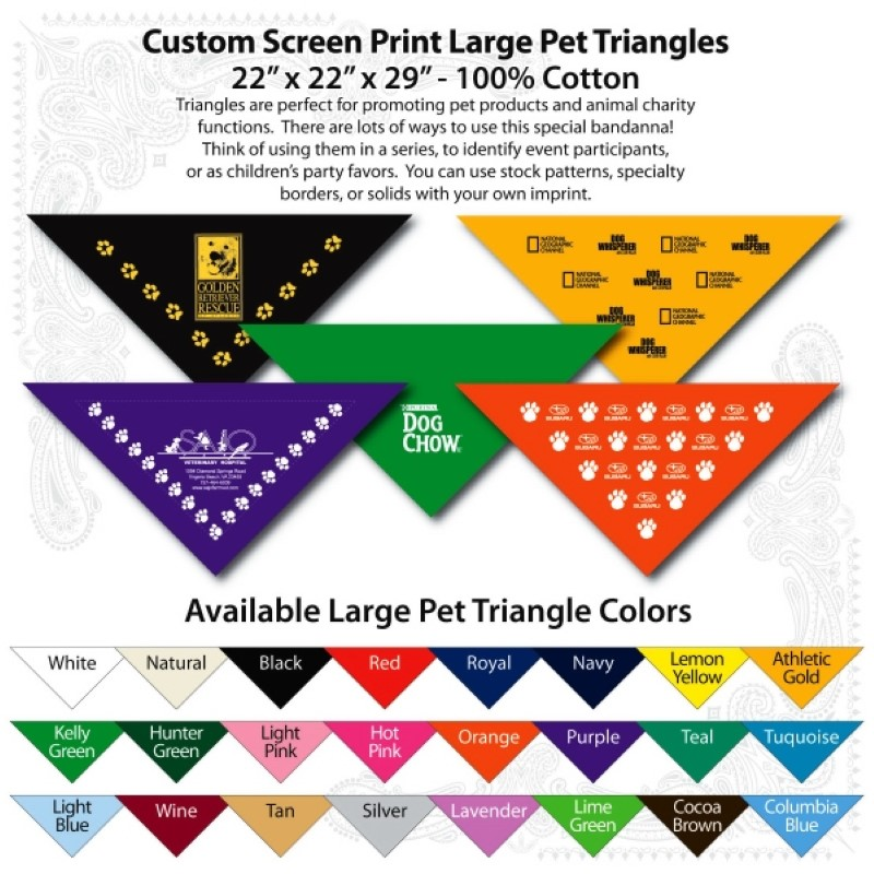 Custom Print Pet Triangle 22 X 22 X 29 Inch Large Bandannas