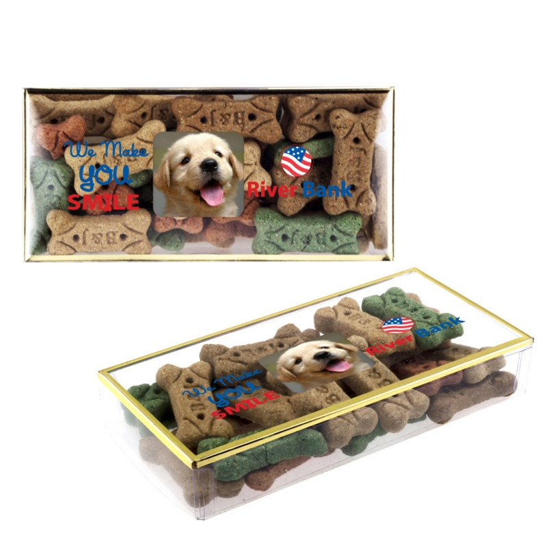 Dog Bones Treats In Golden Rimmed Box
