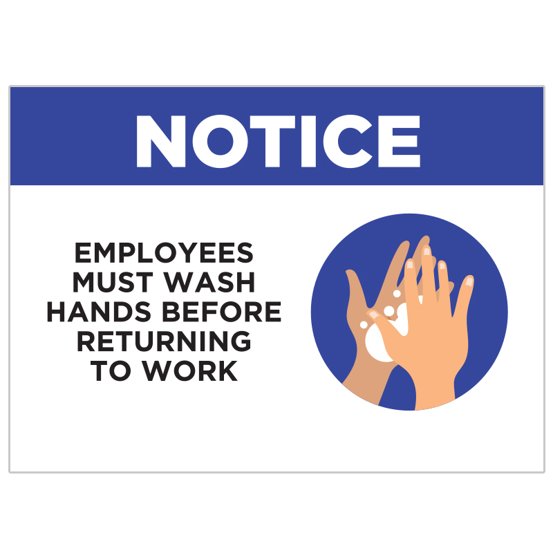 Employees Must Wash Hands Stickers