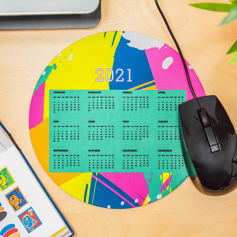 Fluorescent 2021 Calendar Circle Mouse Pads