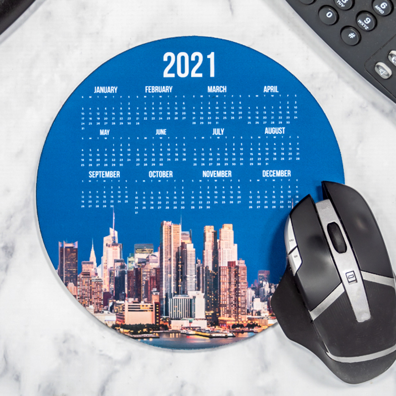 Full Color 2021 Calendar Circle Mouse Pads