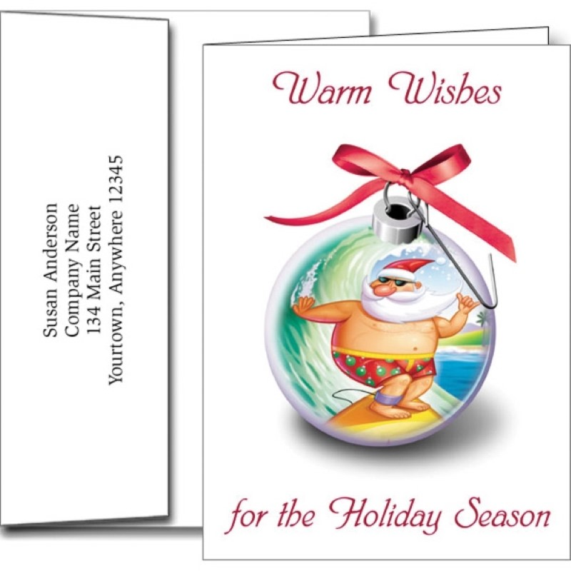 Funny Santa Holiday Greeting Cards With Imprinted Envelopes
