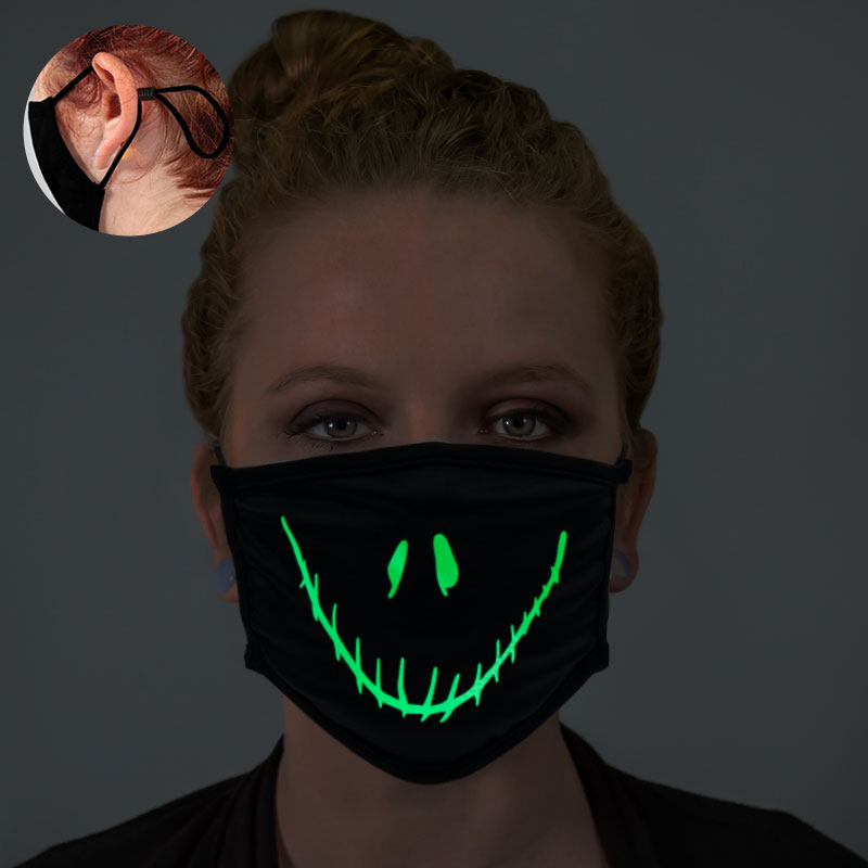 Halloween Smiley Face Glow In The Dark Face Mask