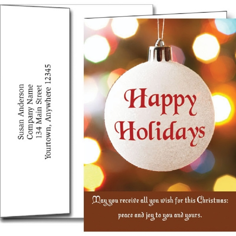 Happy Holidays Ornament Greeting Cards With Imprinted Envelopes