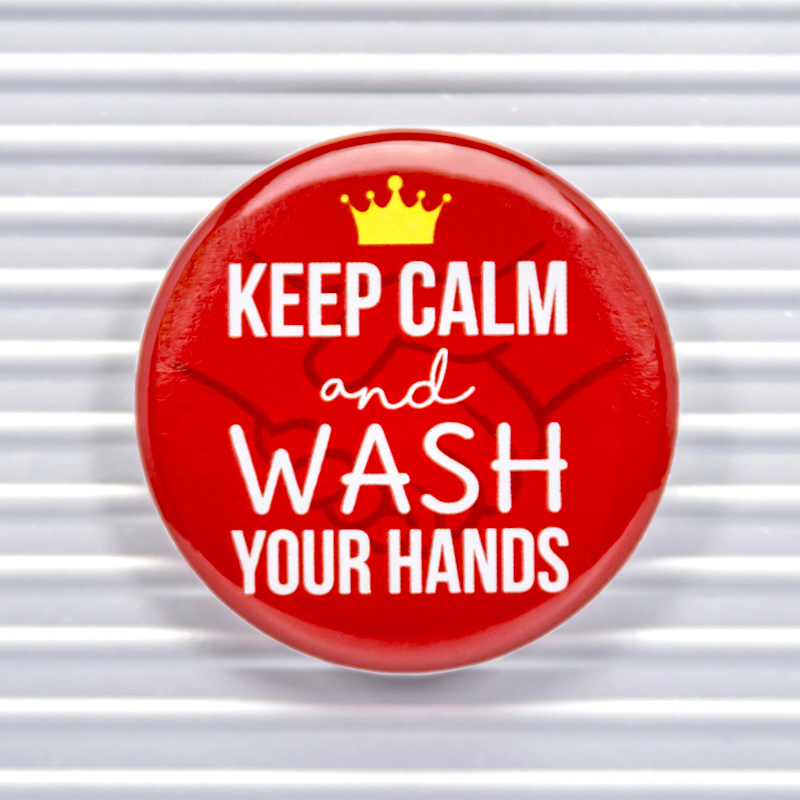 Keep Calm Wash Hands Social Distancing Pin Buttons