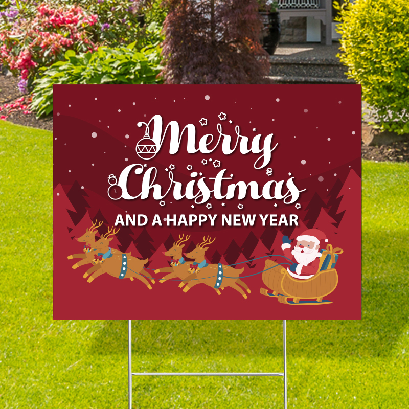 Merry Christmas Happy New Year Yard Signs