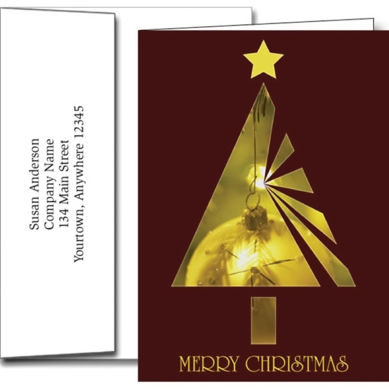 Merry Christmas Holiday Greeting Cards With Imprinted Envelopes