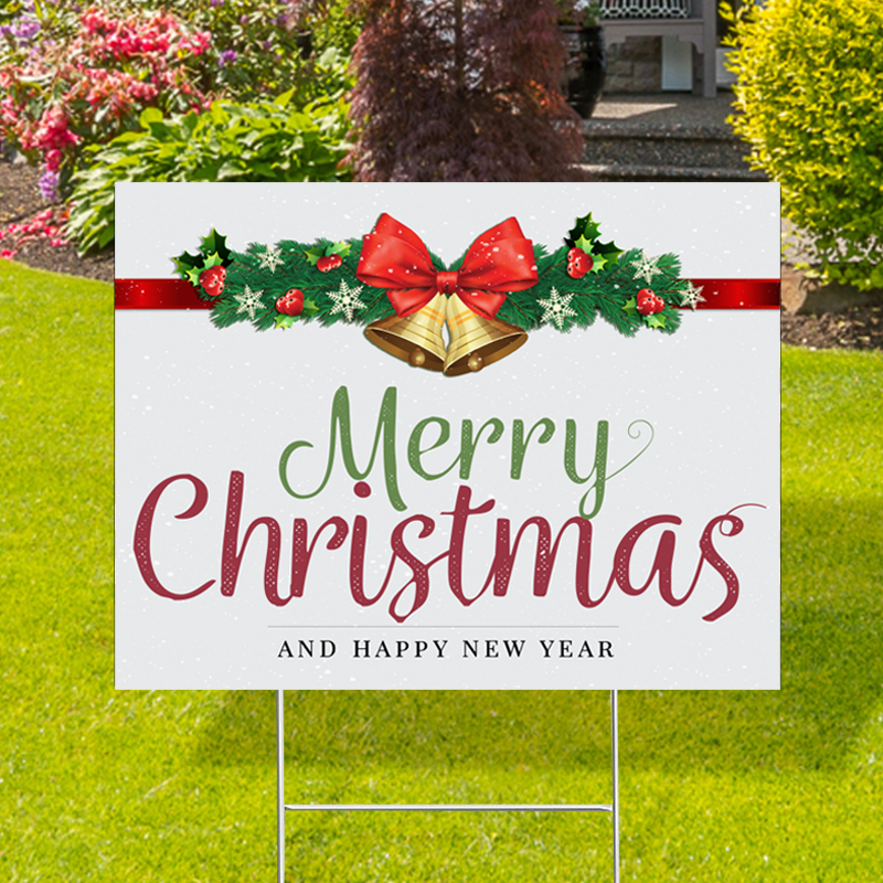 Merry Christmas Jingle Bell Yard Signs