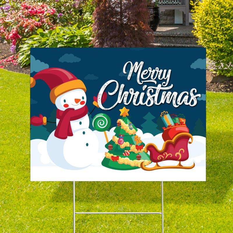 Merry Christmas Snowman Yard Signs