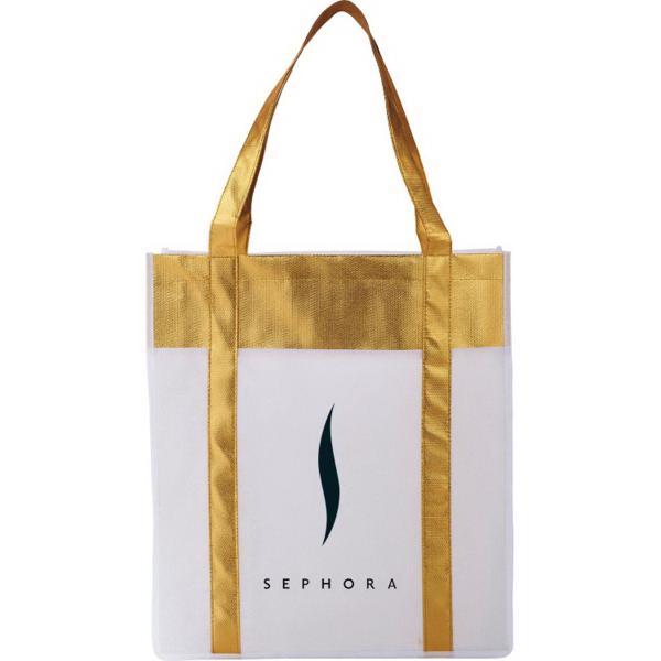 Metallic Non-Woven Shopper Tote Bag