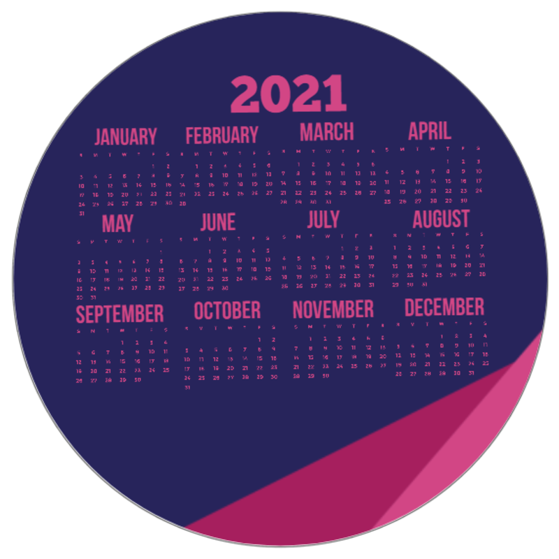 Full Color 2021 Calendar Circle Mouse Pads | Calendars