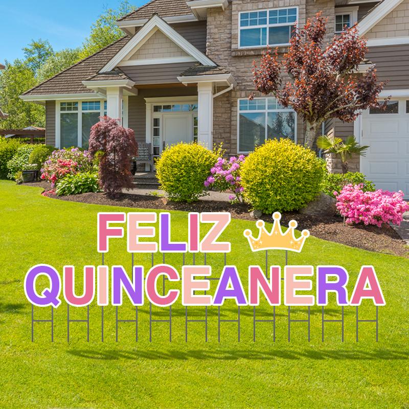Pre-Packaged Feliz Quinceanera Birthday Yard Letters