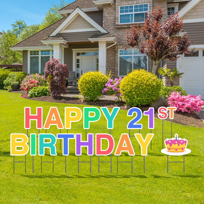 Pre-Packaged Happy 21st Birthday Yard Letters