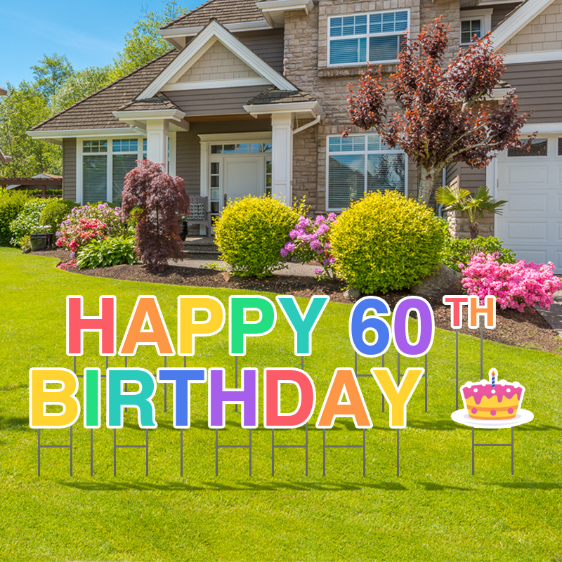 Pre-Packaged Happy 60th Birthday Yard Letters