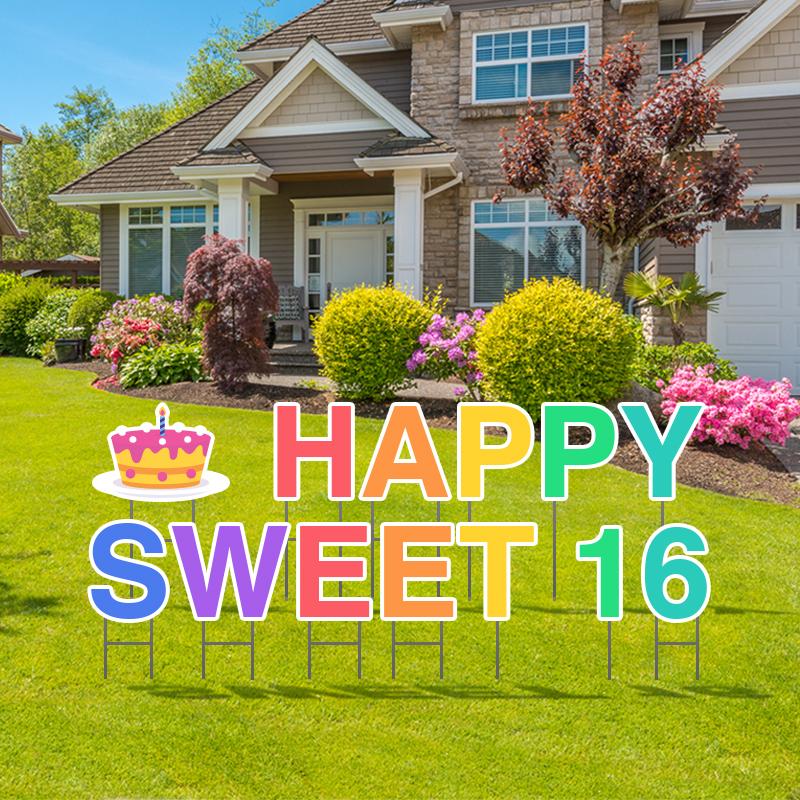 Pre-Packaged Happy Sweet 16 Yard Letters