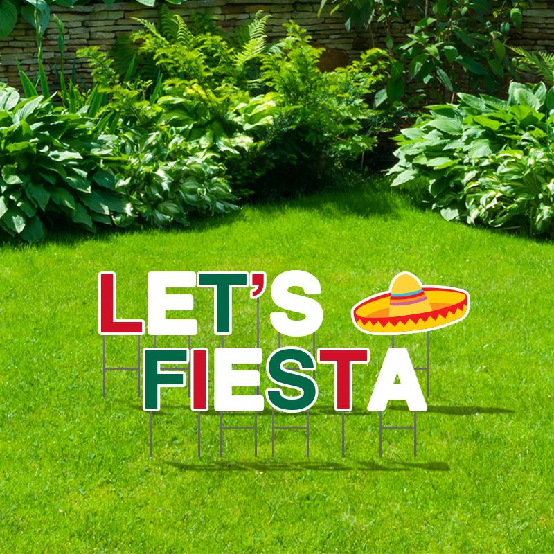 Pre-Packaged Let's Fiesta Yard Letters