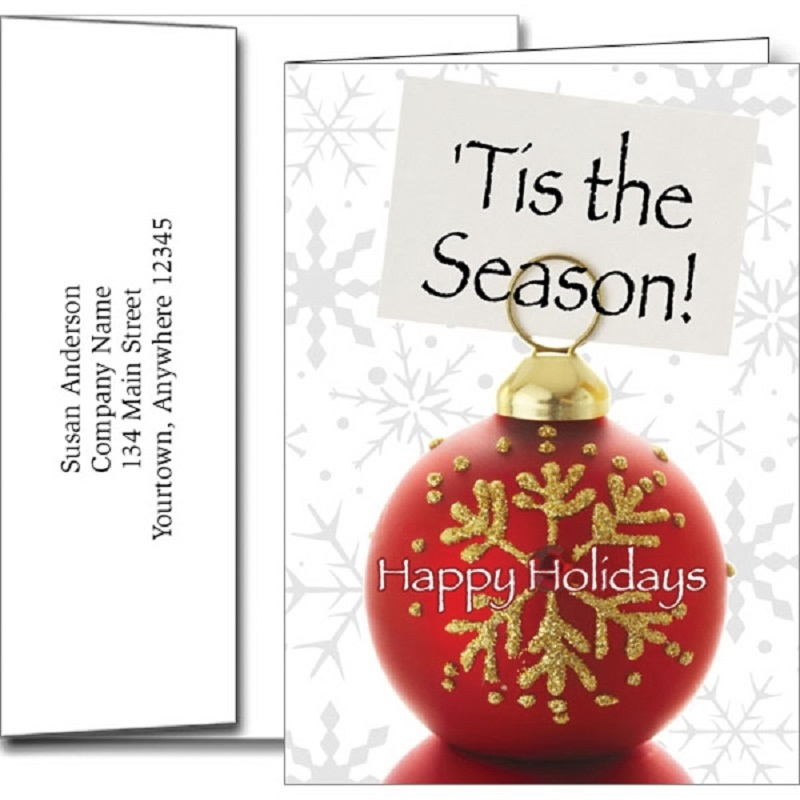 Tis The Season Holiday Greeting Cards With Imprinted Envelopes