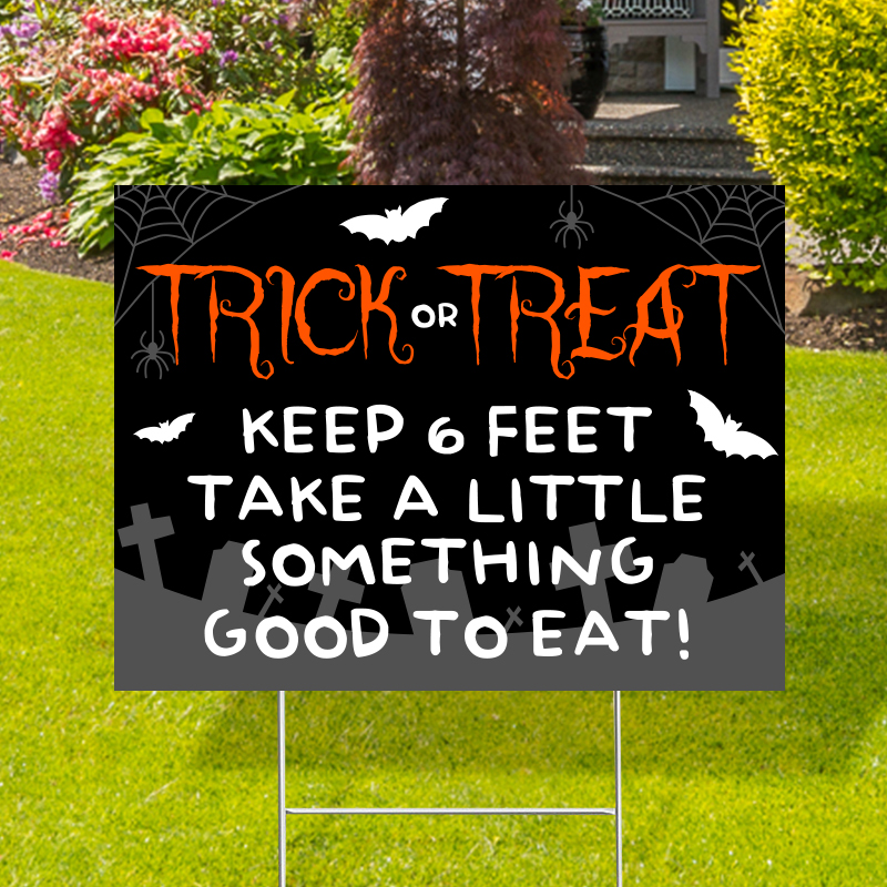 Trick Or Treat 6 Feet Distance Yard Signs