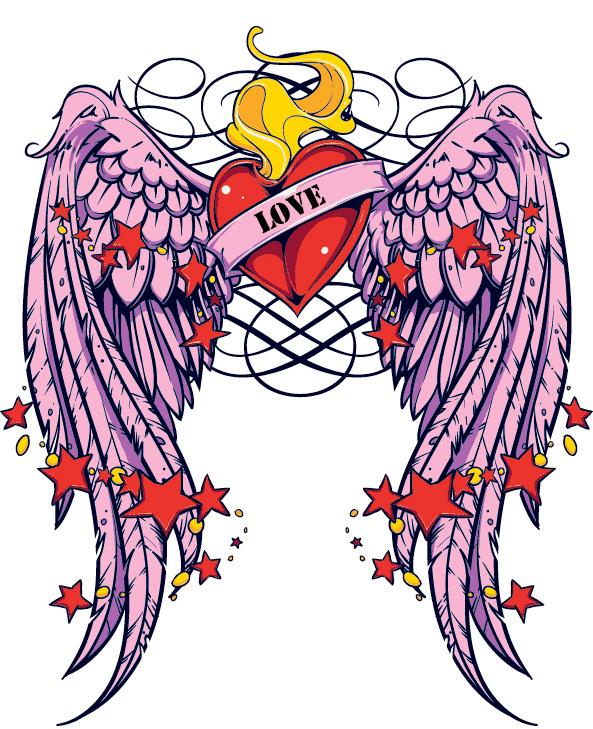 Winged Heart Temporary Tattoo