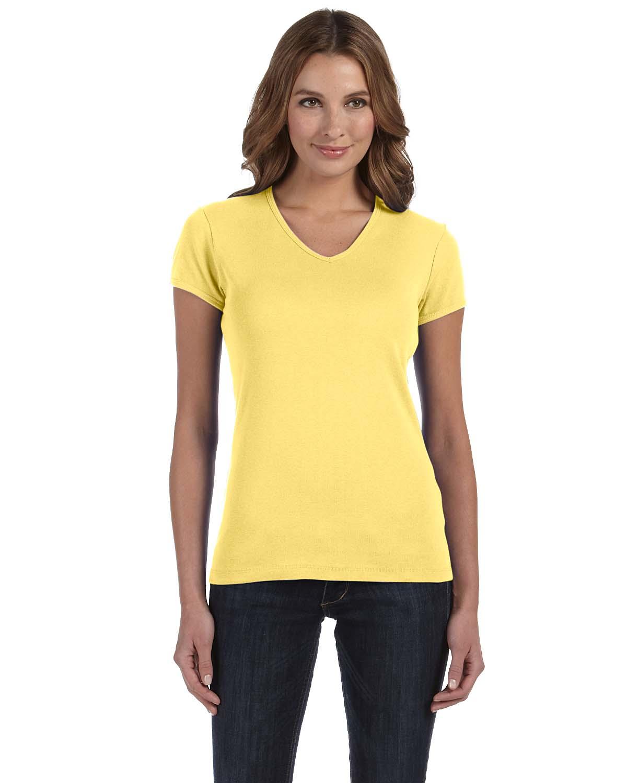 Bella Ladies Stretch Rib Short-Sleeve V-Neck T-Shirt
