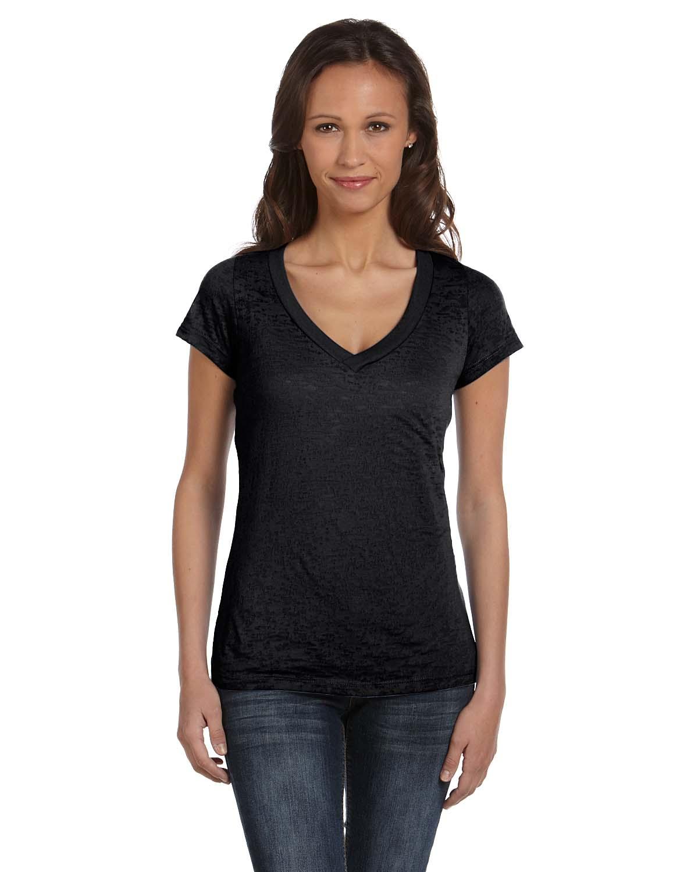 Bella Ladies Burnout Short-Sleeve V-Neck T-Shirt