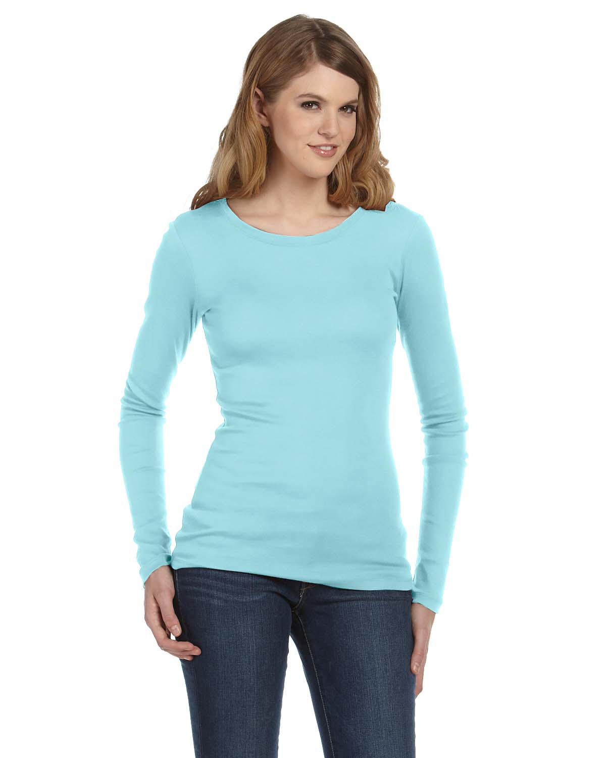 Bella Ladies Sheer Mini Rib Long-Sleeve T-Shirt