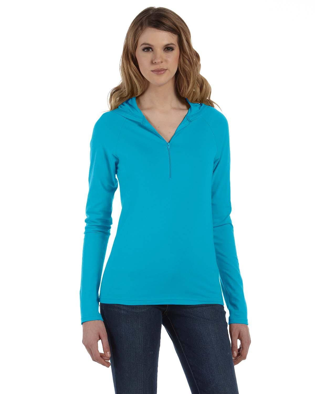 Bella Ladies Cotton/Spandex Half-Zip Hooded Pullover