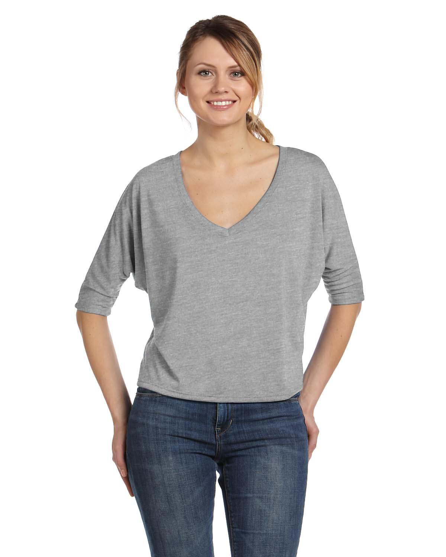 Bella Ladies Flowy Boxy Half-Sleeve V-Neck T-Shirt