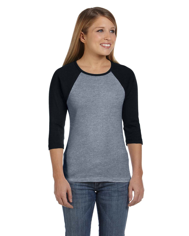 Bella Ladies Stretch Rib 3/4-Sleeve Contrast Raglan T-Shirt
