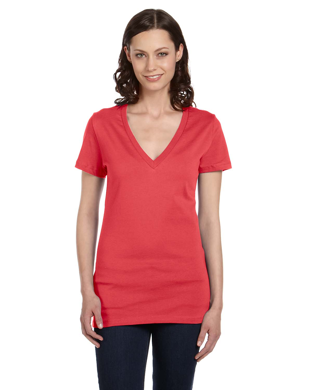Bella Ladies Jersey Short-Sleeve Deep V-Neck T-Shirt
