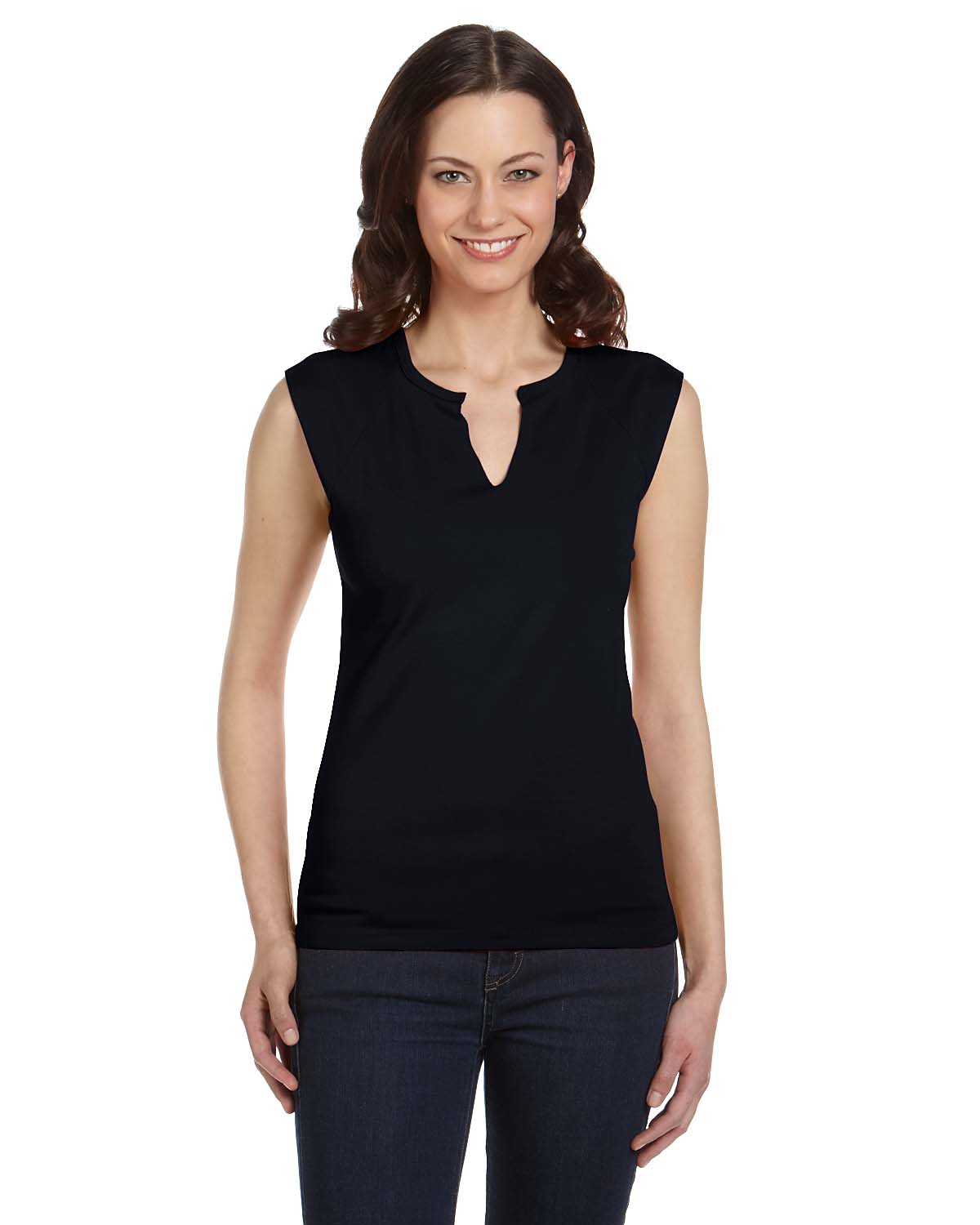 Bella Ladies Cotton/Spandex Slit-V Raglan T-Shirt